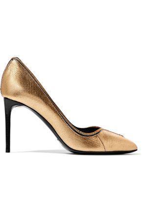 Tom Ford Woman Zip-embellished Metallic Karung Pumps Gold