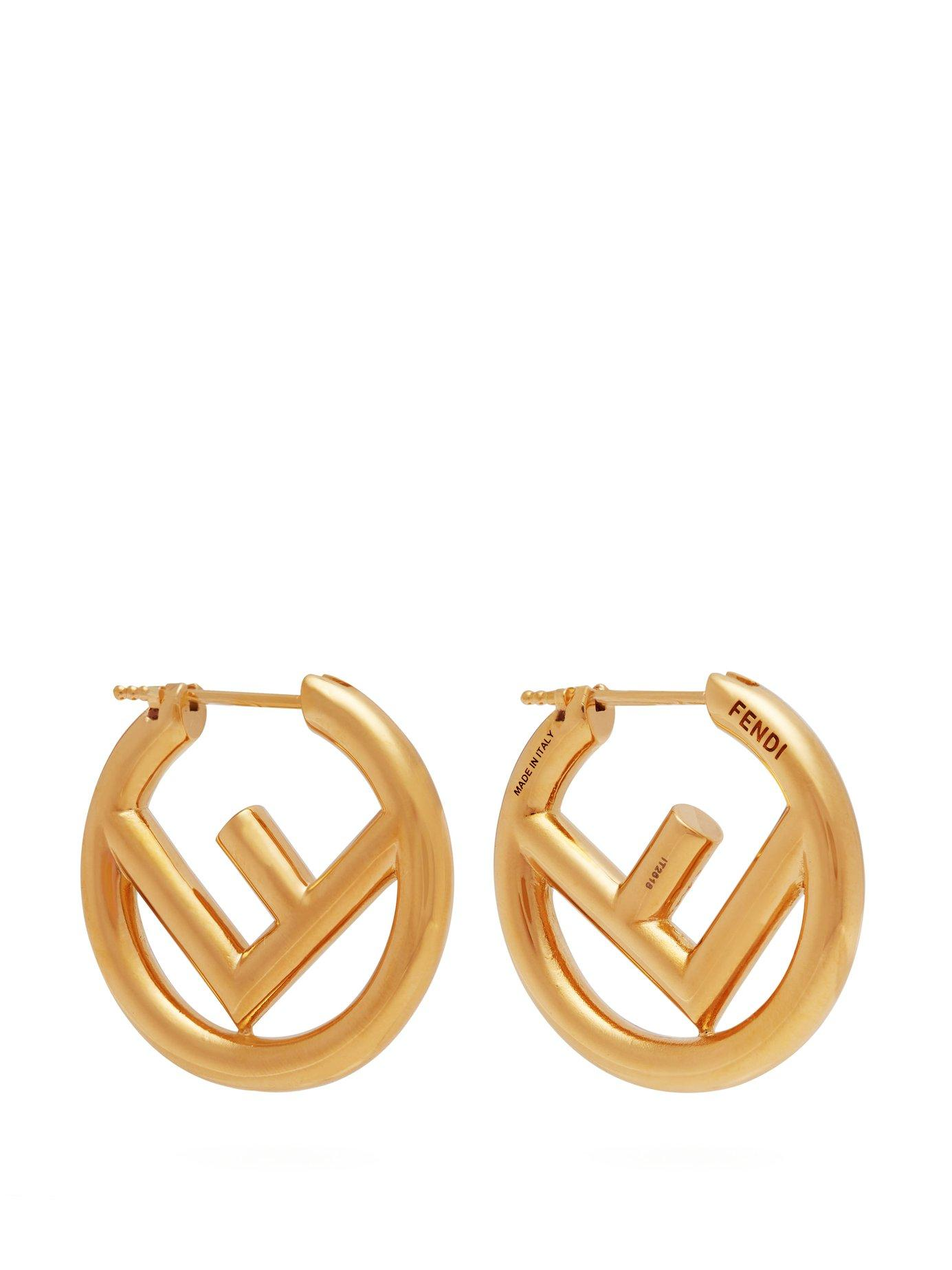 2b5dbb3e6 Fendi Ff Hoop Earrings In Gold | ModeSens