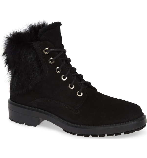 89264d142 Aquatalia Lacy Genuine Shearling Lined Boot With Genuine Rabbit Fur Trim In  Black