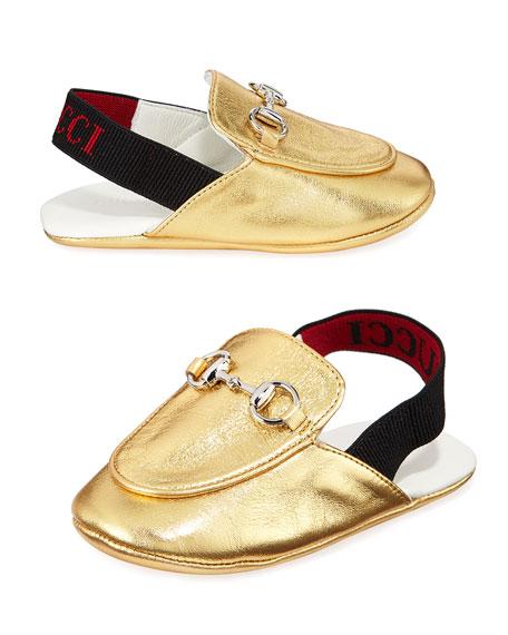 d2a0074404be Gucci Princetown Metallic Leather Horsebit Mule Slides