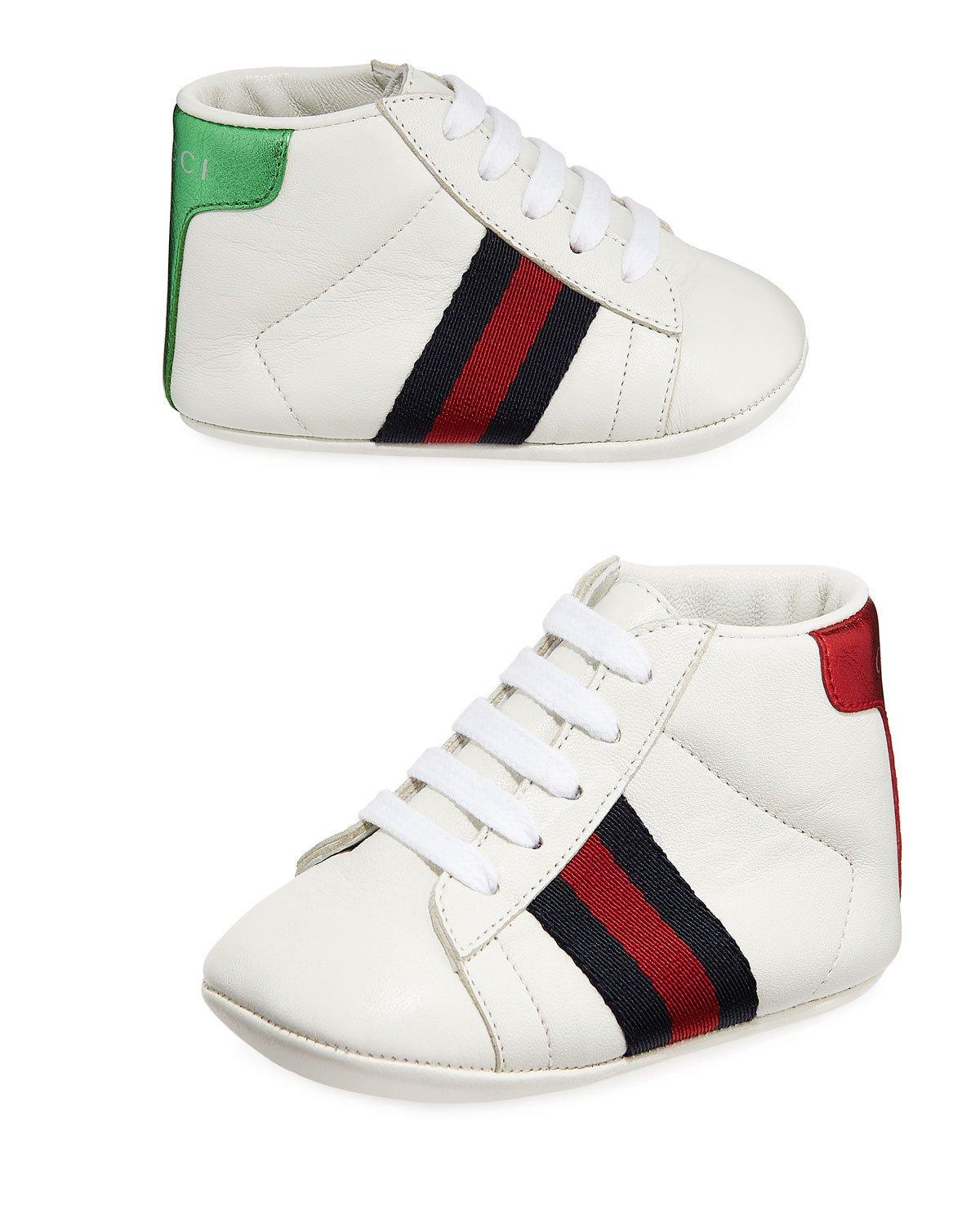 a931efbc240c3 Gucci New Ace Web-Trim Leather Sneakers