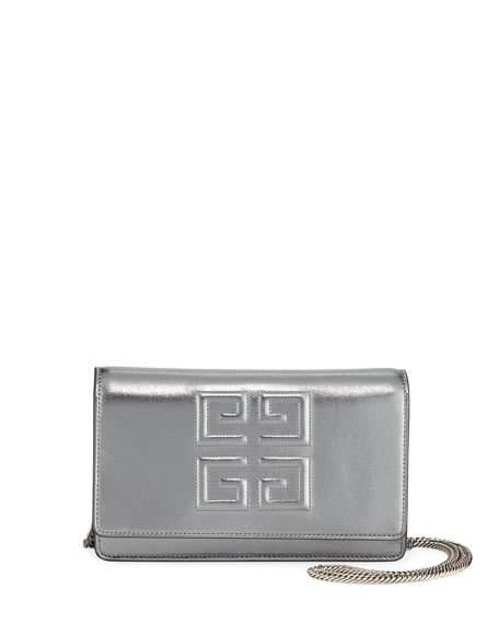 d63ddd2e4af6 Givenchy Emblem Metallic Leather Chain Wallet - Silver