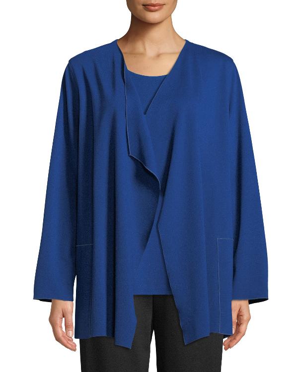 efdc2f557fe Caroline Rose Plus Size Ponte Luxe Saturday Jacket W/ Pockets In Royal