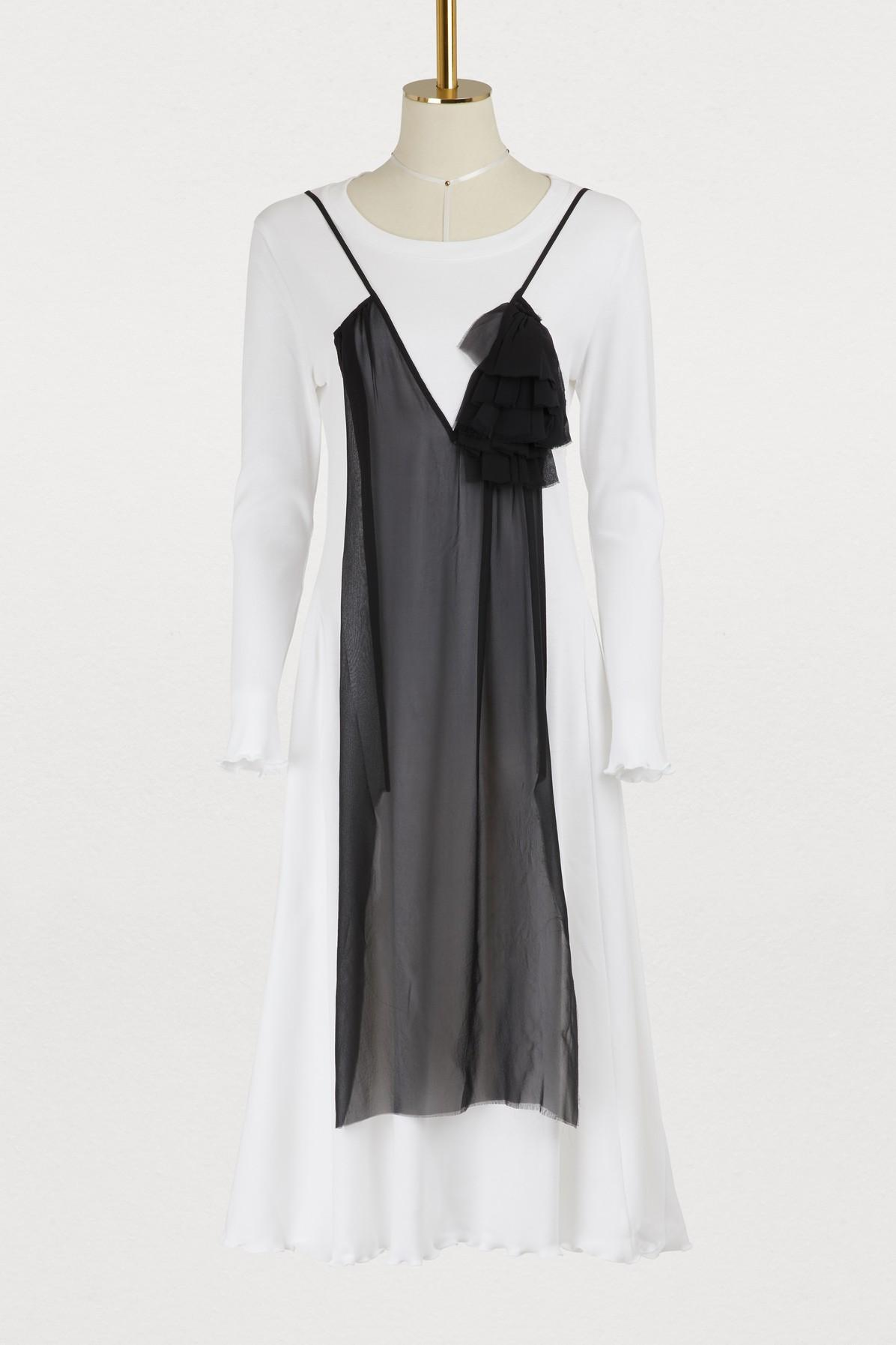Aalto Jersey Dress With Tulle Panel In White