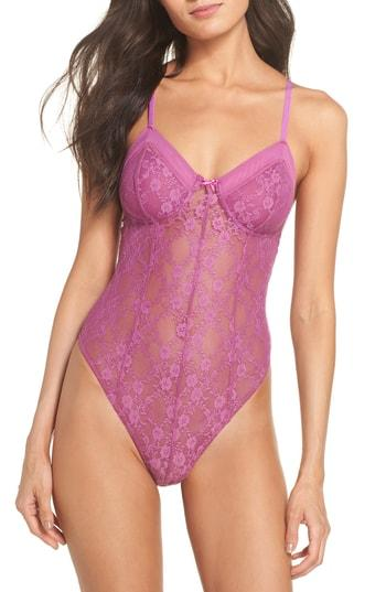 653edd697 Free People Intimately Fp Runaway Lace Thong Bodysuit In Pink