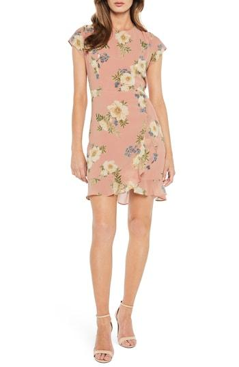 f50c44d1bc395 Bardot Floral Lace-Up Chiffon Dress In Sunset Print | ModeSens