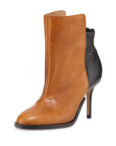 Maison Margiela Bicolor Stretch-Back Ankle Boot, Caramel/Black In Black/Brown