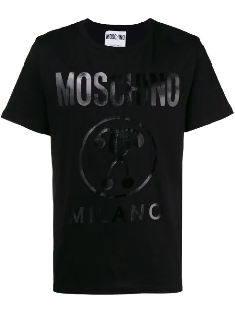Moschino Cotton T-shirt With Double Question Mark Logo In Black