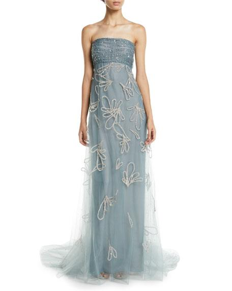 a2b3f86d6ba5 Oscar De La Renta Strapless Sequin-Embroidered Tulle Evening Gown W/ Donut  In Gray