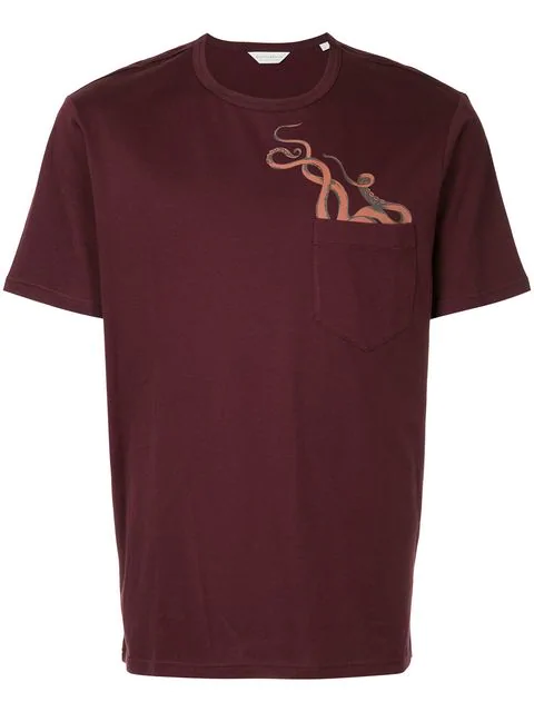 Gieves & Hawkes Octopus-print Cotton-jersey T-shirt In Red