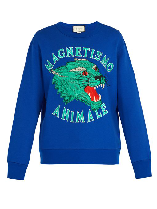 0039c130 Gucci Magnetismo Animale Cotton-Jersey Sweatshirt In Blue | ModeSens