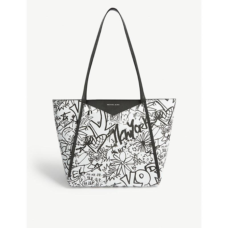 5093a0c2e54186 Michael Michael Kors Whitney Large Graffiti Leather Tote In Optic White