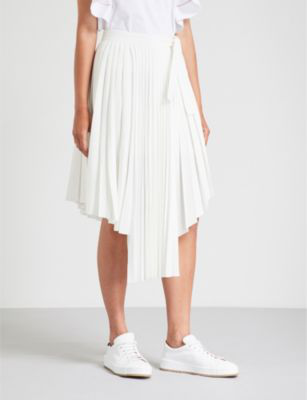 good selling large discount factory outlet Jaxy Pleated Asymmetric Midi Skirt in White