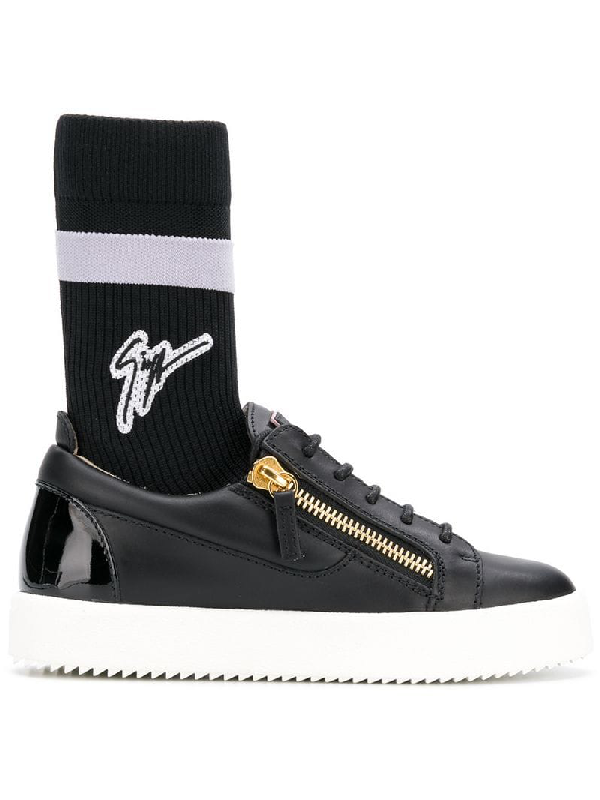 b1de688f5f139 Giuseppe Zanotti Kriss Plus Signature-Sock Leather Mid-Top Sneakers In Black