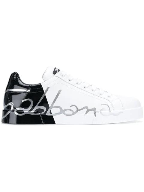 Dolce & Gabbana Metallic Patent Calfskin Portofino Sneakers In White
