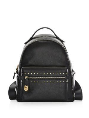 17b52cc4ab Rivet Trim Campus Leather Backpack in Black