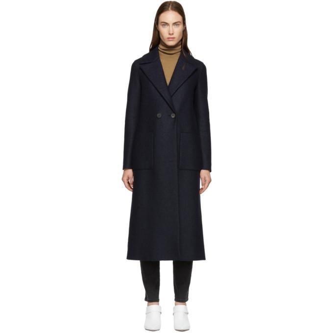 c30d537b29257 Harris Wharf London Navy Pressed Wool Boxy Duster Coat In 358 Navy ...