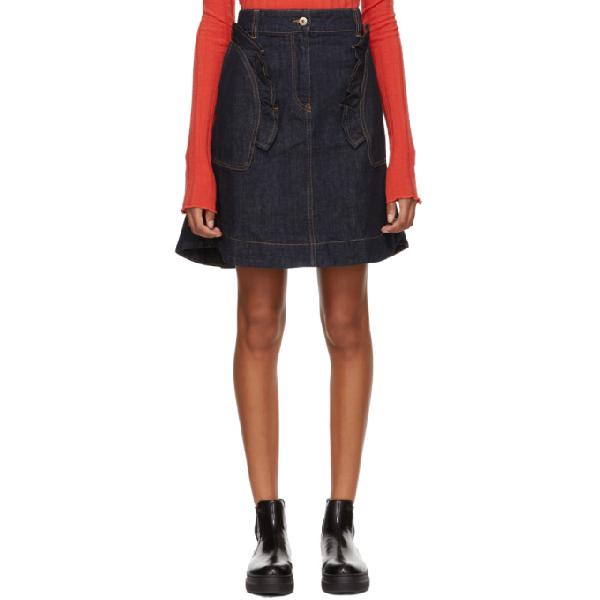 7632689b6 Carven Ruffled Denim Mini Skirt In 570 Indigo | ModeSens