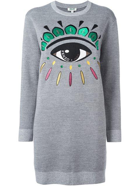 Kenzo 'Eye' Sweatshirt Dress In Grey