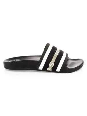 f476e9f60735 Marc Jacobs Cooper Webbing Aqua Pool Slide Sandals In Black Multi ...