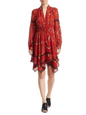 Derek Lam 10 Crosby Long Sleeve Dress With Handkerchief Hem In Chili Red