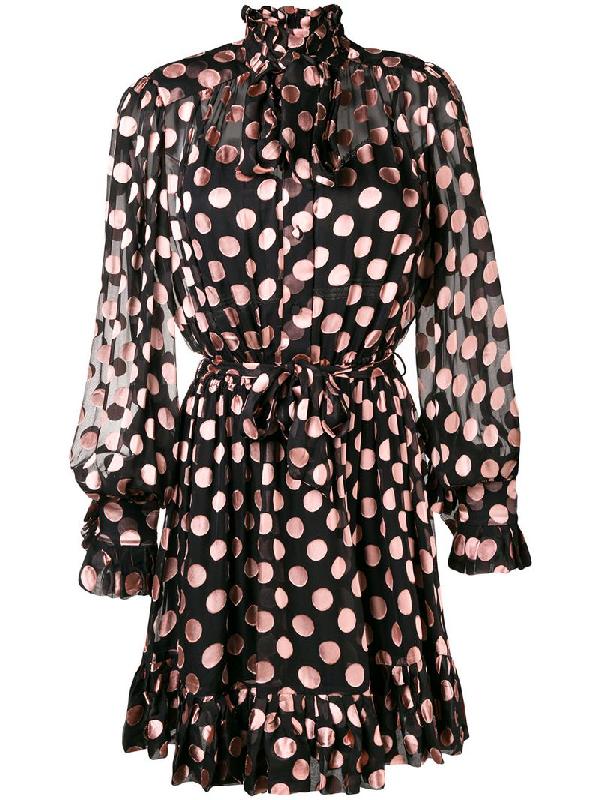 f2fda2d52d44 Zimmermann Unbridled Polka Dot Ruffled A-Line Dress In Black | ModeSens