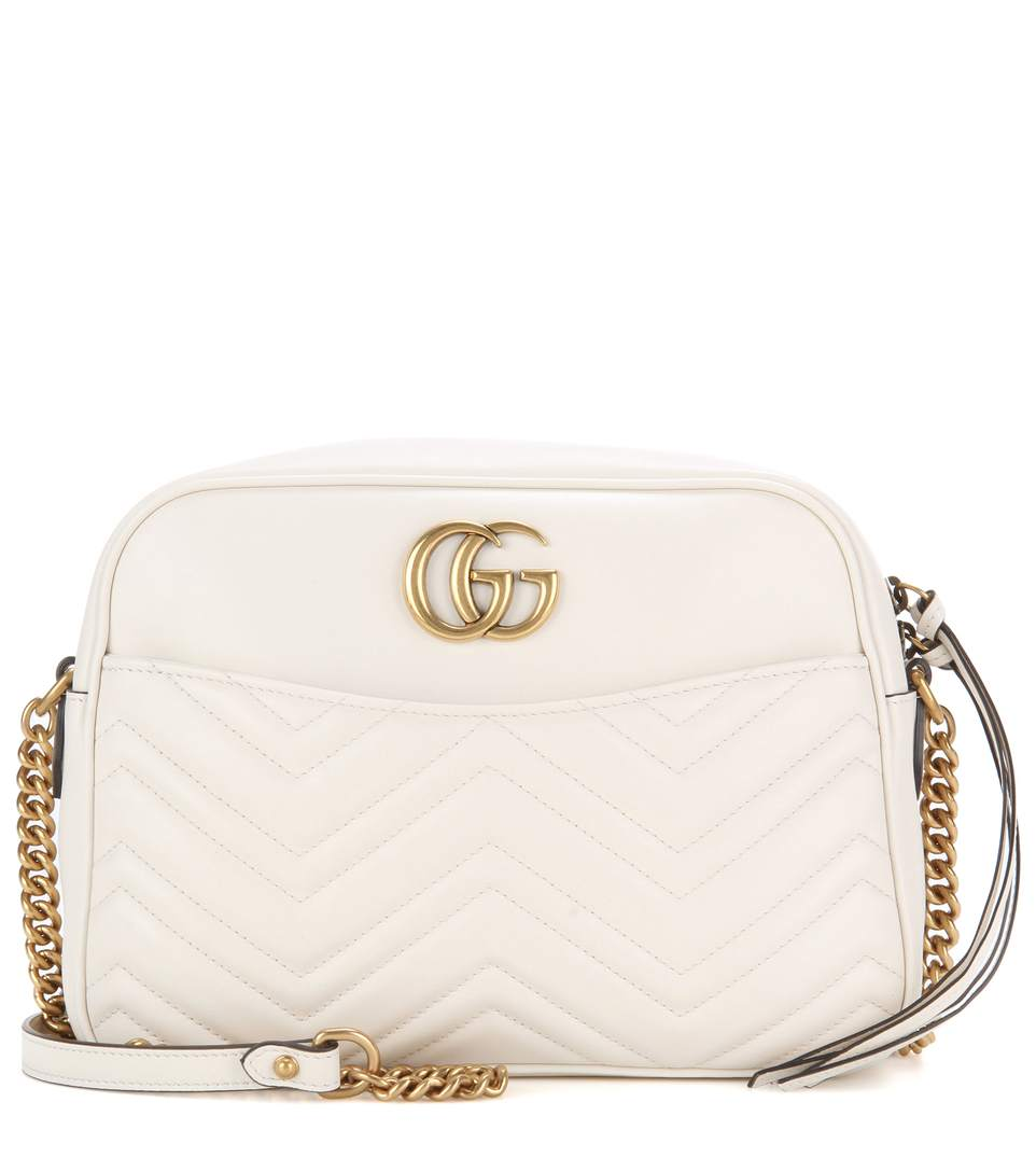 66b6a26e395 Gucci White Leather  Gg Marmont  MatelassÉ Shoulder Bag In M.White ...