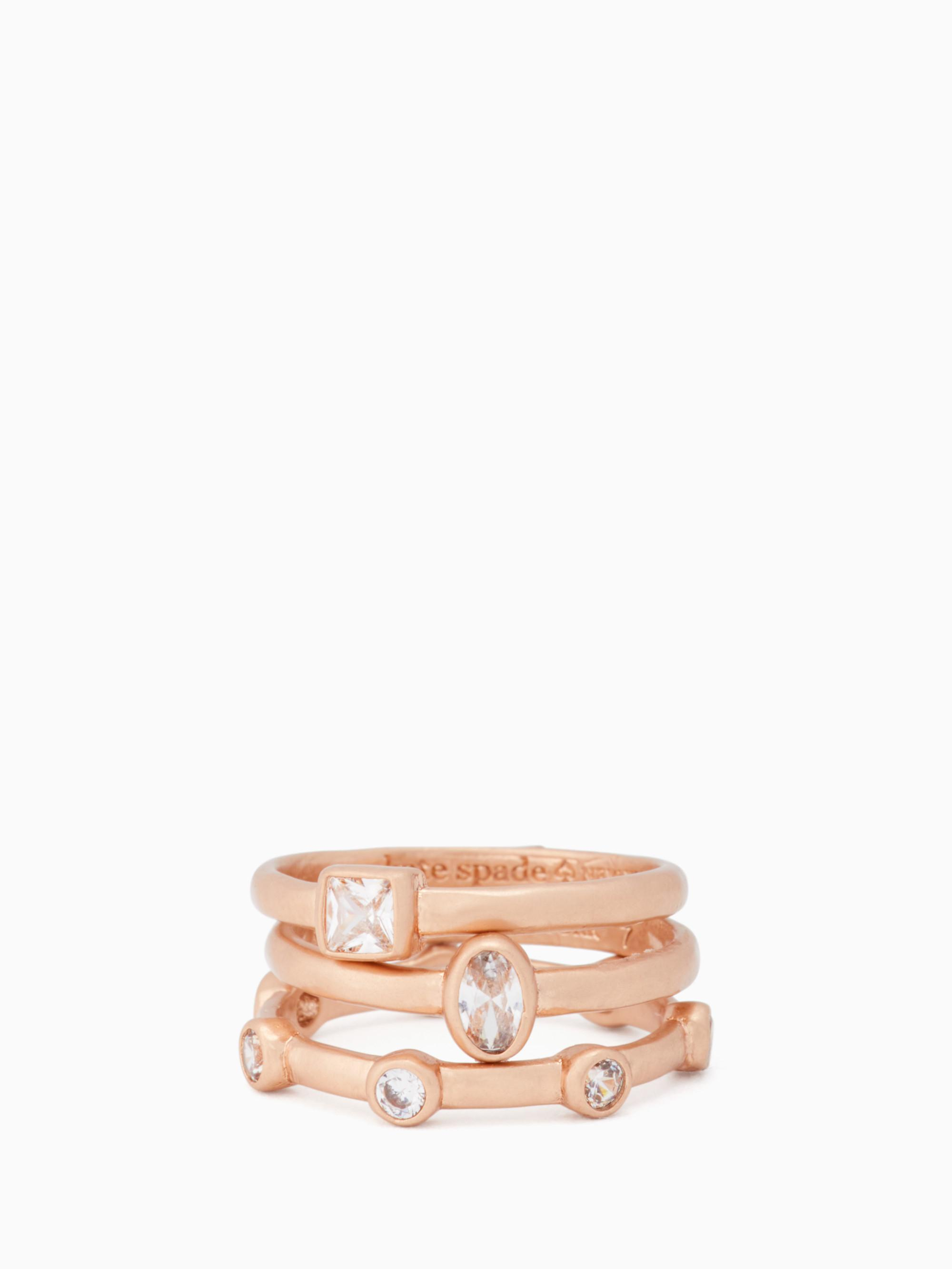 cb180408e47f6 Elegant Edge Stackable Ring Set in Clear/Rose Gold