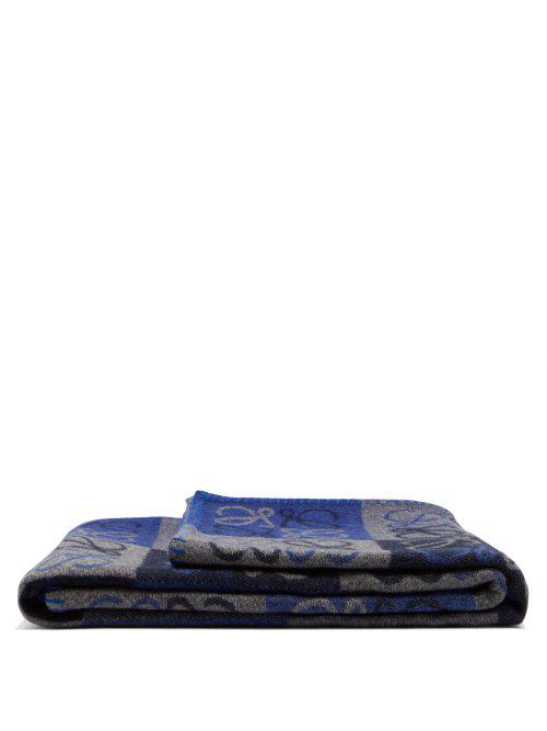 Loewe Anagram Wool Blend Blanket In Blue Multi