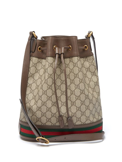 74db39d6de4bcd Gucci Ophidia Gg Supreme Canvas Drawstring Bucket Bag In 8745 Brown ...