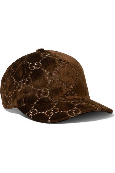 4d6e954349d Gucci Metallic Velvet-Jacquard Baseball Cap In Brown