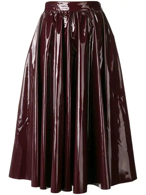 4dac371c1f Msgm Faux Patent Full Skirt In Red | ModeSens
