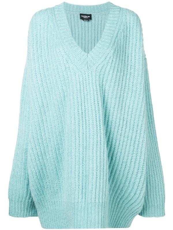564c1b7e74b Oversized V Neck Mohair Rib Knit Sweater in Blue