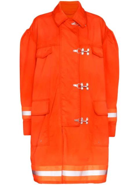 Calvin Klein 205w39nyc Fireman Orange Reflective Twill Coat