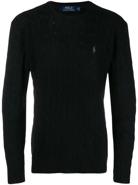 Polo Ralph Lauren Cable-Knit Merino Wool And Cashmere-Blend Sweater - Black In 008 Black
