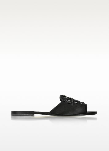 edade9eab Tory Burch Delphine Embellished Satin Slip-On Sandals In Black ...