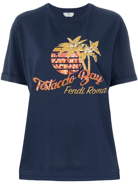 Fendi Testaccio Bay T-Shirt Blue In F12Ck