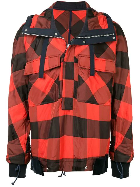 Sacai Check Pullover Jacket In Red