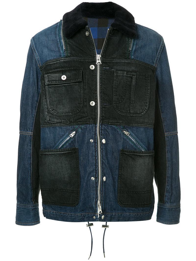 Sacai Patchwork Denim Jacket - Blue