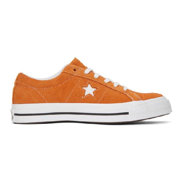 Converse One Star Orange Suede Trainers In Mandarin