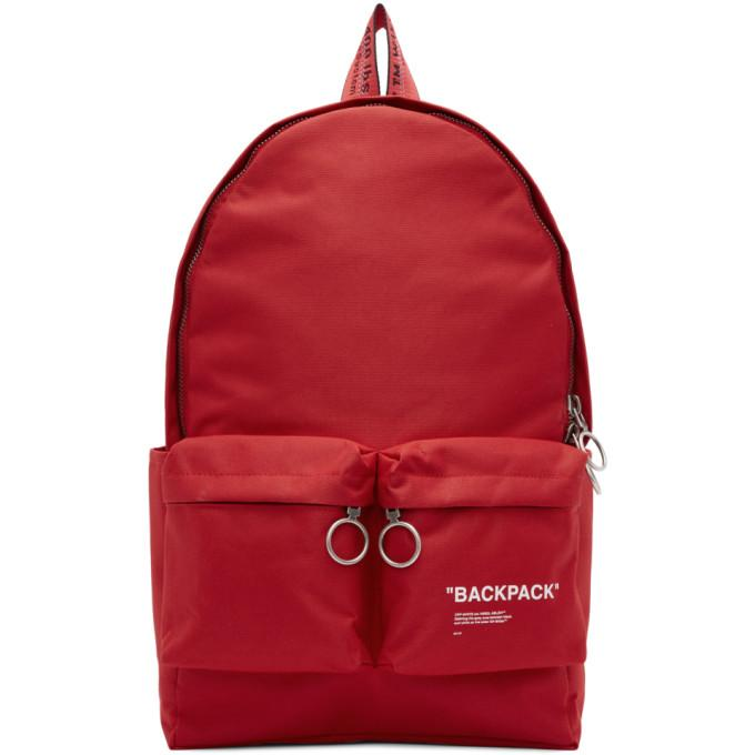 Red Off Printed In Modesens Canvas Backpack White vTA6ZTF