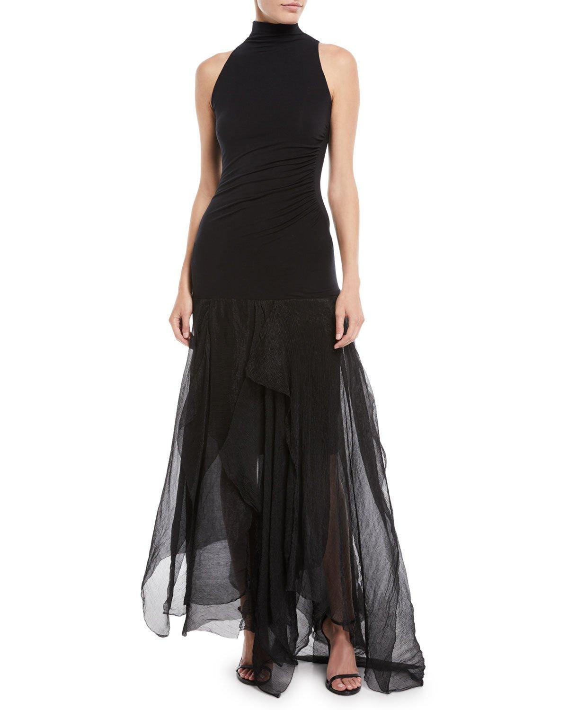 4d6a10673f4d6 Urban Zen Halter-Neck Sleeveless Fitted-Bodice Chiffon-Bottom Dress In Black