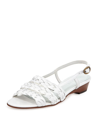 Sesto Meucci Ginny Woven Leather Slingback Sandals, White