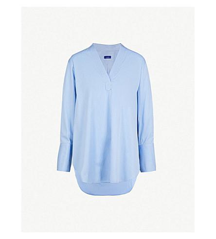 Joseph Eamon Striped-Pattern Cotton Shirt In Blue