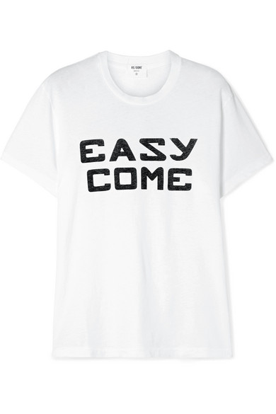 Re/done Easy Girlfriend Graphic Crewneck Tee In White