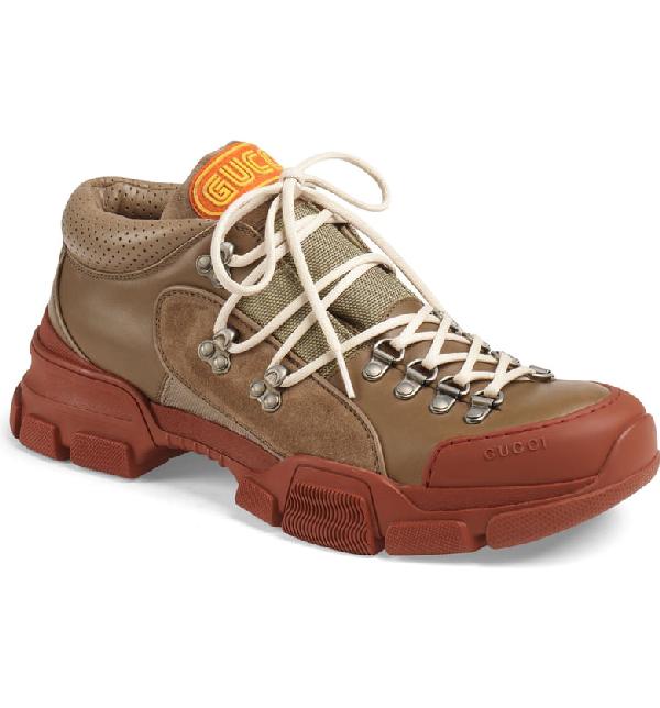 Gucci Leather & Original Gg Trekking Boot In Beige