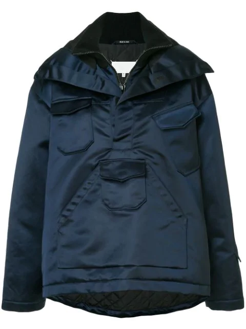 Maison Margiela Techno Canvas Anorak Jacket In Blue