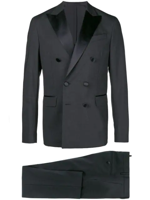Dsquared2 Satin Lapel Two Piece Suit In Grey