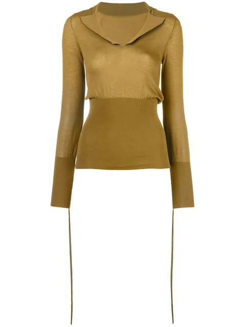 Jacquemus Plunge Neck Knitted Top In Green