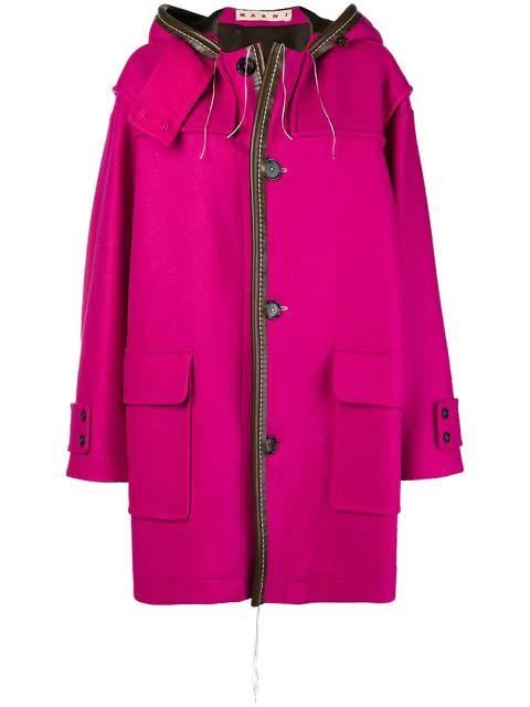 Marni Oversized Hooded Coat - Pink